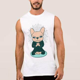T-shirt Sans Manches Méditez avec le Frenchie mignon pour rester le zen