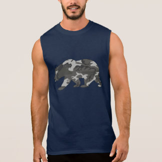 T-shirt Sans Manches Ours urbain de motif de Camo