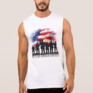 T-shirt Sans Manches Patriotique ne soutenez jamais en bas du drapeau