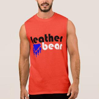 T-shirt Sans Manches Patte d'ours bleue d'ours en cuir