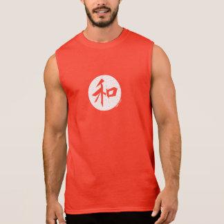 """T-shirt Sans Manches Pièce en t japonaise de muscle de """"paix"""""""