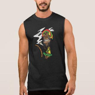 T-shirt Sans Manches Rasta avec un joint et la Jamaïque - chapeau