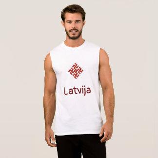 T-shirt Sans Manches Réservoir de la Lettonie avec l'amulette de croix
