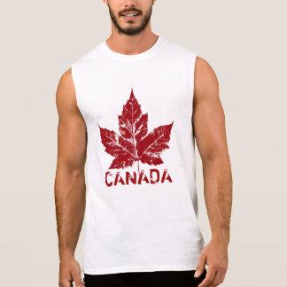 T-shirt Sans Manches Rétro souvenir de feuille d'érable du Canada de