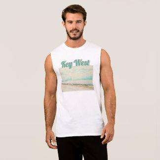 T-shirt Sans Manches Vagues, sable, et ciel à la plage de Higgs à Key