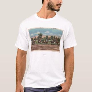 T-shirt Saratoga Springs, NY - scène de voie de course de