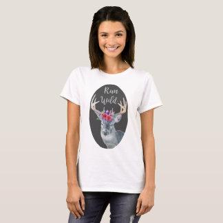 T-shirt sauvage couru par couronne en cristal de