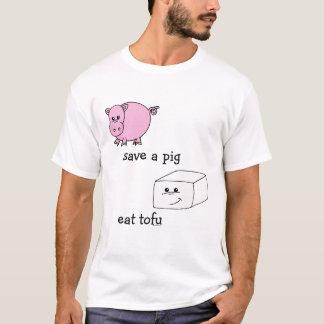 T-shirt sauvez un porc mangent le tofu