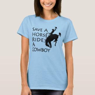 T-shirt Sauvez un tour de cheval un cowboy
