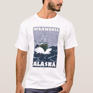T-shirt Scène de bateau de pêche - Wrangell, Alaska