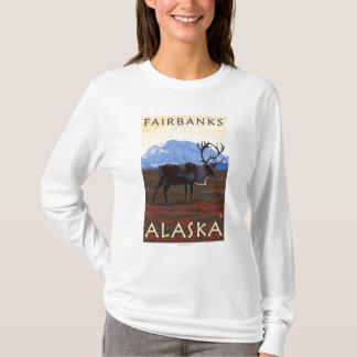 T-shirt Scène de caribou - Fairbanks, Alaska