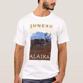 T-shirt Scène de caribou - Juneau, Alaska