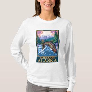 T-shirt Scène de pêche de mouche - Fairbanks, Alaska