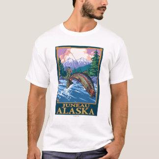 T-shirt Scène de pêche de mouche - Juneau, Alaska