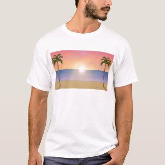 T-shirt Scène de plage de coucher du soleil :