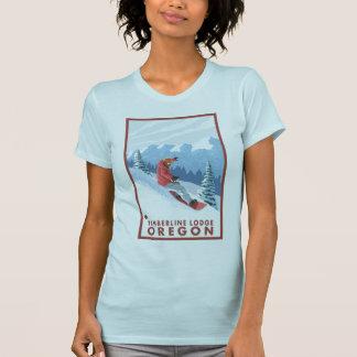 T-shirt Scène de surfeur - loge de Timberline, Orégon