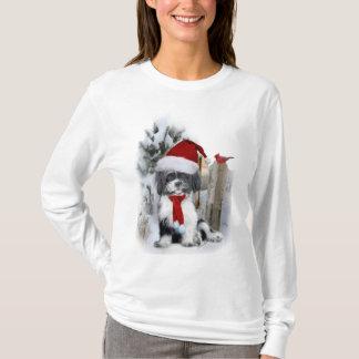 T-shirt scène d'hiver de shih Tzu
