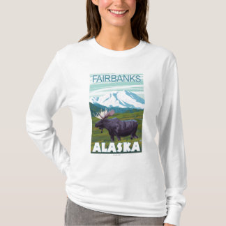 T-shirt Scène d'orignaux - Fairbanks, Alaska