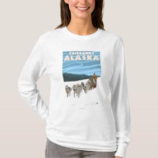 T-shirt Scène Sledding de chien - Fairbanks, Alaska