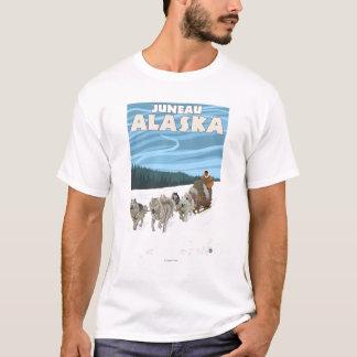 T-shirt Scène Sledding de chien - Juneau, Alaska