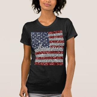 T-shirt Scintillement brillant de faux de drapeau à la