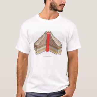 T-shirt Section transversale d'un volcan de cendre-cendre