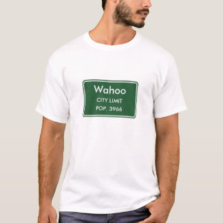 T-shirt Signe de limite de ville du Nébraska de Wahoo