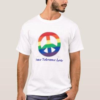 T-shirt signe de paix d'arc-en-ciel, amour de tolérance de