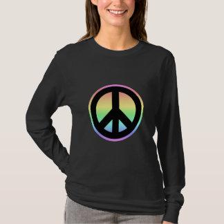 T-shirt Signe de paix en pastel d'arc-en-ciel