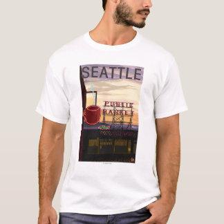 T-shirt Signe du marché d'endroit de SeattlePike et vue de