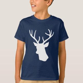 T-shirt Silhouette blanche de tête de cerfs communs -