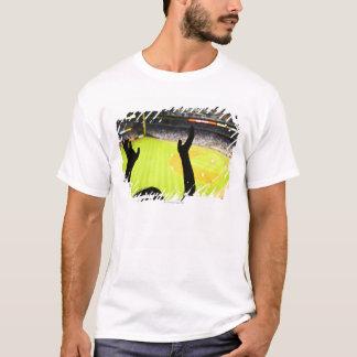 T-shirt Silhouette des mains de ondulation de fan de