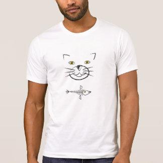 T-shirt Silhouette du visage du chat avec le squelette de