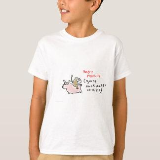 T-shirt Singe de bébé (montant vers l'arrière sur un porc)