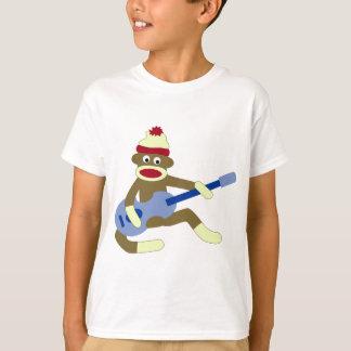 T-shirt Singe de chaussette jouant la guitare bleue