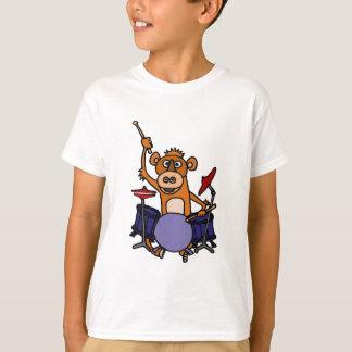 T-shirt Singe drôle jouant des tambours