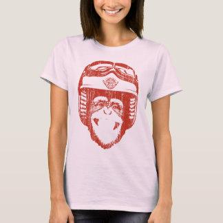 T-shirt Singe heureux de Moto (rouge vintage)