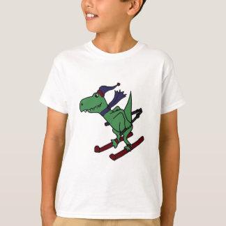 T-shirt Ski vert drôle de dinosaure de Trex
