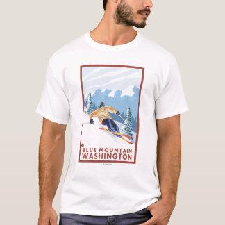 T-shirt Skieur de neige de Downhhill - montagne bleue,