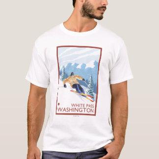T-shirt Skieur de neige de Downhhill - passage blanc,