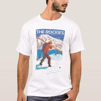 T-shirt Skis de transport de neige de skieur - les
