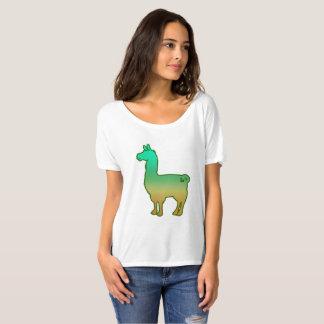 T-shirt Slouchy de dames tropicales vertes de lama