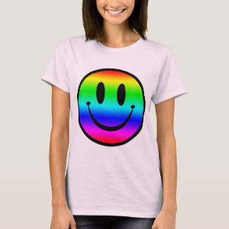 T-shirt Smiley V1 d'arc-en-ciel