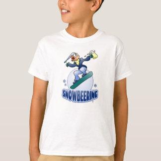 T-shirt Snowbeering, faisant du surf des neiges avec de la
