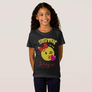 T-Shirt Soeur de la fête d'anniversaire d'Emoji de fille