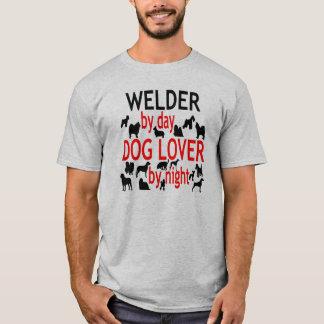 T-shirt Soudeuse d'amoureux des chiens en rouge