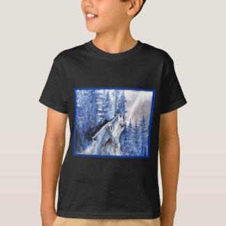 T-shirt Souffle bleu de froid de loups d'hiver de loup de