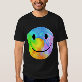 T-shirt souriant de marbre de visage d'arc-en-ciel