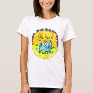 T-shirt Soyez chat bleu aimable
