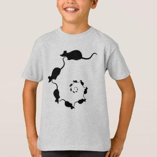 T-shirt Spirale mignonne de souris. Souris noires sur la